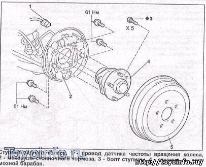 снимаем ступицу заднего колеса Toyota Prius