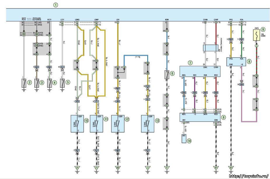 Электросхема электронного управления двигателем автомобилей тойота.