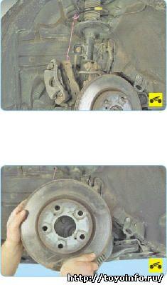 Замена переднего тормозного диска Тойота Королла
