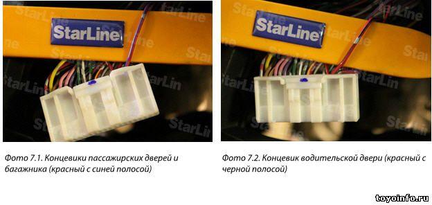 В разъеме панели приборов подключаем концевики дверей, сигналы поворотов, сигнал тахометра и сигнал ручного тормоза. Подключение концевиков дверей делаем согласно схеме 1