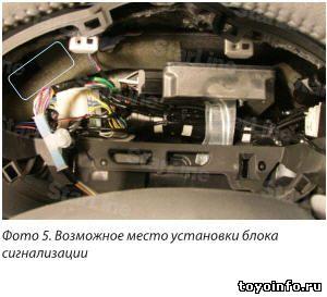 Блок сигнализации устанавливаем за щитком приборов на воздуховод Toyota RAV4.