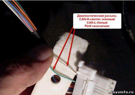 На диагностическом разъеме Toyota Auris подключаем провода CAN шины
