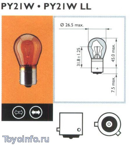 Лампа РY21W