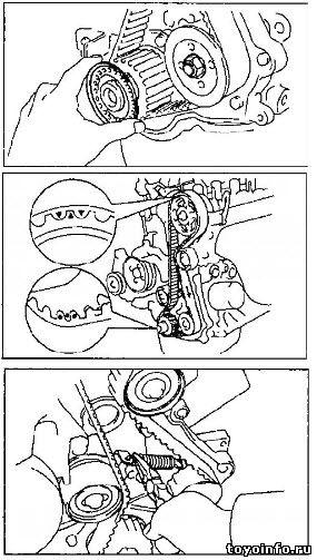Снятие ремня ГРМ 4E-FE, 5E-FE